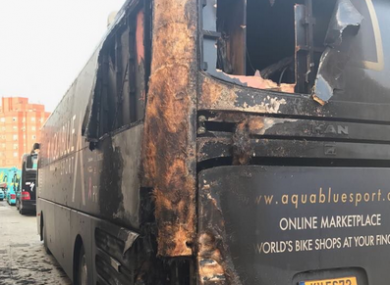The bus following the fire.