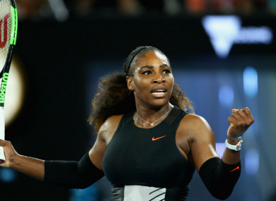 Serena Williams celebrates at the Australian Open.