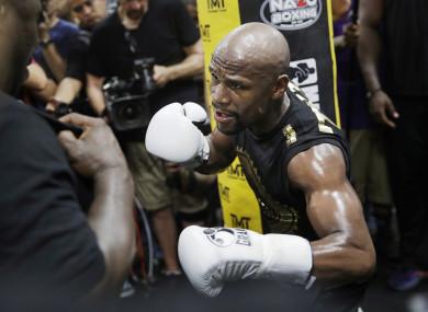 Floyd Mayweather Jr training at his gym in Las Vegas.