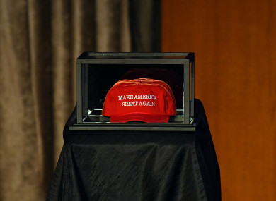 A Make America Great Again hat placed on the side of the stage prior to Donald Trump speaking to supporters at New York last year.