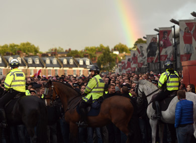 Police presence outside the Emirates Stadium prior to the match.