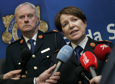 Acting Garda Commissioner, Donall O Cualain, with the former Garda Commissioner Noírín O'Sullivan.