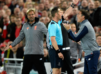 Eduardo Berizzo was sent off during tonight's Liverpool-Sevilla clash.