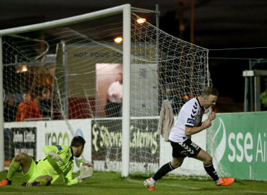Bohemians' Keith Ward celebrates after scoring his second goal.