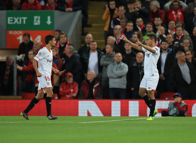 Sevilla's Wissam Ben Yedder celebrates scoring his side's first goal of the game.