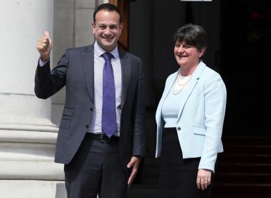 Taoiseach Leo Varadkar welcomes DUP leader Arlene Foster to Dublin.