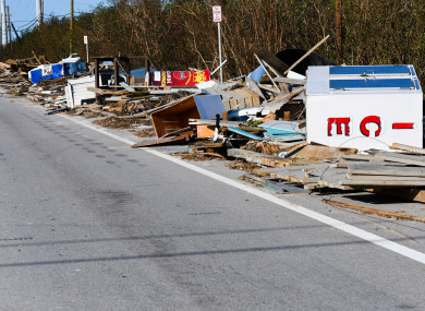 Debris along the highway in the Florida Keys.