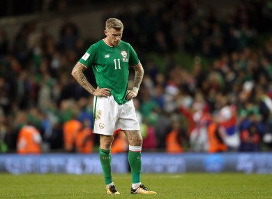 Ireland's James McClean looks dejected after the 2018 FIFA World Cup Qualifying, Group D match at the Aviva Stadium.
