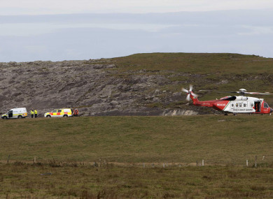 Emergency services at the scene near Doonbeg in Co Clare this morning.