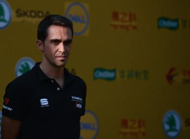 Alberto Contador pictured at the  Shanghai Criterium.
