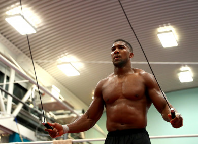 Anthony Joshua during a media session at the English Institute of Sport.