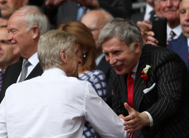 File photo dated 27-05-2017 of Arsenal manager Arsene Wenger shaking hands with Owner Stan Kroenke.