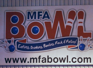 A sign for MFA Bowl at Bermuda Park in Nuneaton where a gunman was holding two bowling alley members of staff hostage and has now been arrested.