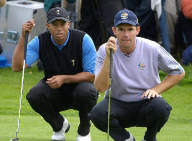 Woods and Harrington in Ryder Cup action back in 2006.