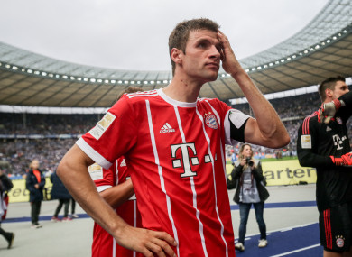 Thomas Muller dejected following Bayern's 2-2 draw on Sunday.