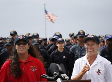 Jennifer Appel, right, and Tasha Fuiava speak on the deck of the USS Ashland.