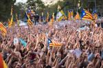 450,000 people march in the streets of Barcelona on 21 October 2017 in protest against Spanish prime minister's Mariano Rajoy announcement that direct rule is to be imposed in Catalonia