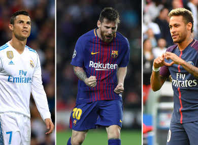 The three nominees -- Ronaldo, Messi and Neymar.