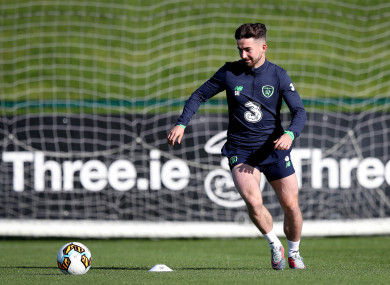 Sean Maguire pictured at Ireland training today.