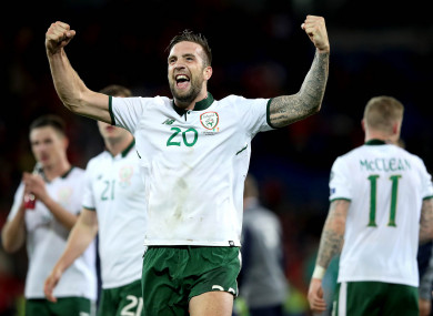 Shane Duffy celebrates after the game.