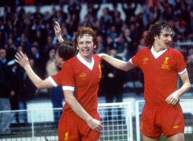 Liverpool's David Fairclough (left) and Phil Thompson celebrate the winning goal in the 1978 European Cup final against Club Brugge.