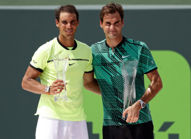 Nadal and Federer will face off tomorrow (file pic).