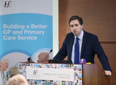 Minister Simon Harris today at the launch of the report.