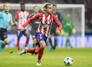 Griezmann pictured during Atletico's Champions League meeting with Chelsea in September.