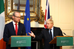 Simon Coveney and Boris Johnson at the Department of Foreign Affairs in Dublin.