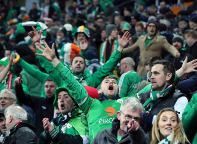 Irish fans at the Parken Stadium, Copenhagen.