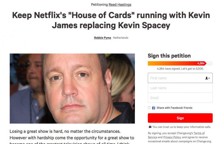 a petition to replace kevin spacey with kevin james in house of
