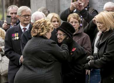 Fionnuala Jay-O'Boyle CBE, Lord Lieutenant of Belfast greets Nellie O' Donnell (nee Duffy) daughter of Irish Victoria Cross recipient, James Duffy before they unveiled her father's memorial stone.