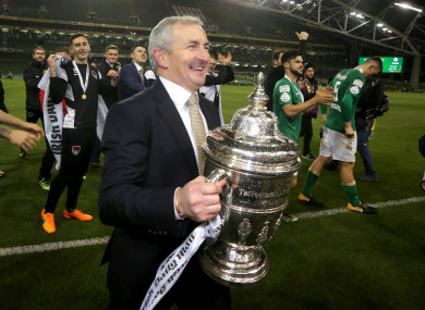 John Caulfield celebrates with the FAI Cup at the Aviva Stadium.