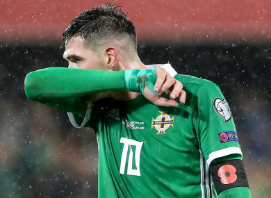 Northern Ireland's Kyle Lafferty dejected after conceding the goal.
