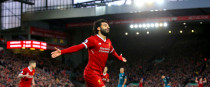 Liverpool's Mohamed Salah celebrates scoring his side's second goal.