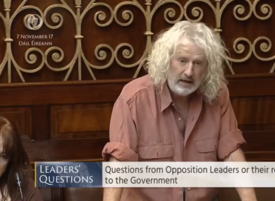Mick Wallace addressing the Dáíl yesterday.