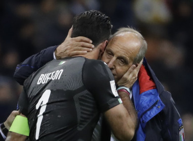 Ventura and retiring goalkeeper Gianluigi Buffon embrace.