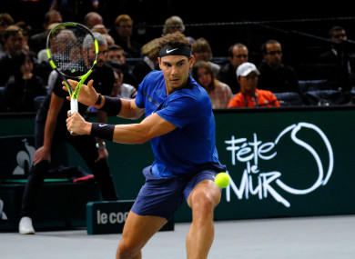 Nadal in action in Paris today.