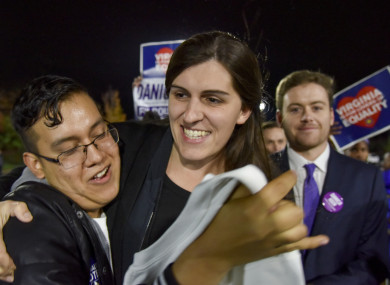 Danica Roem is greeted by supporters as she prepares to give her victory speech.