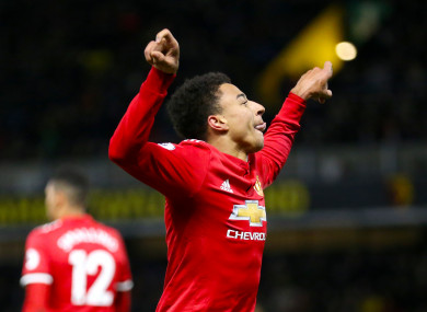 Manchester United's Jesse Lingard celebrates scoring his side's fourth goal.