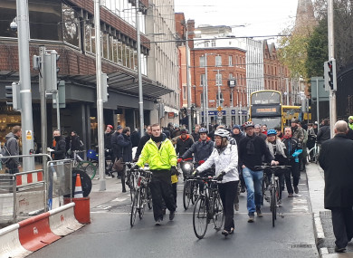 Cyclists during today's protest.