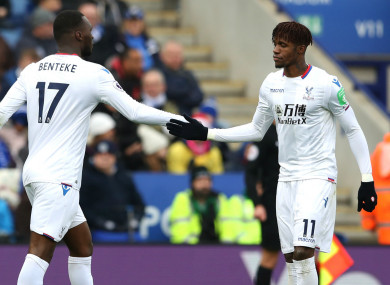 Crystal Palace goalscorers Christian Benteke and Wilfried Zaha.