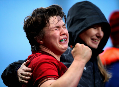 Munster's Ciara Griffin is overcome with emotion after beating Leinster at Thomond Park.
