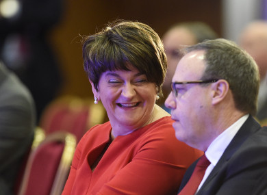 DUP leader Arlene Foster and DUP deputy leader Nigel Dodds during the party's annual conference at the La Mon hotel in Belfast last month.
