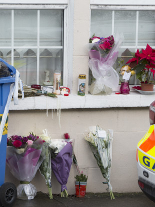 Floral tributes outside the home for Rosie Hanrahan