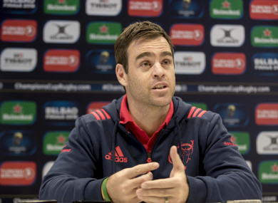 The Munster head coach speaking at Tuesday's press conference.