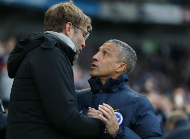 Liverpool manager Jurgen Klopp with Brighton counterpart Chris Hughton