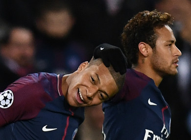 PSG forwards Kylian Mbappe (left) and Neymar