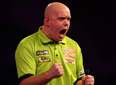 Michael van Gerwen celebrates at the Ally Pally.