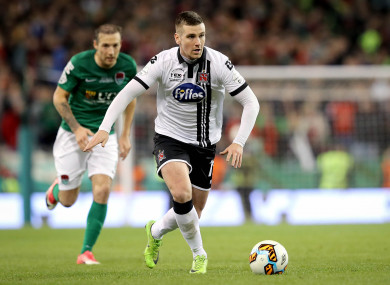 McEleney in possession for Dundalk in the FAI Cup final.